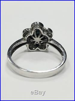 14k White Gold Blue Pearl & Diamond Floral Cocktail Set Earrings Ring & Pendant