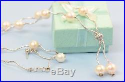 14k White Gold Charming Genuine White Pearls Set Necklace, Bracelet, Earrings