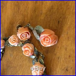 14k White Gold Coral Carved Rose Bracelet & Drop Earrings Set 24.9g chinese