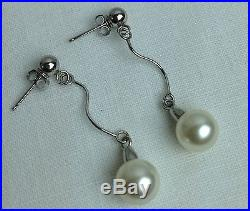 14k White Gold & Pearl Necklace, Bracelet, and Earrings Set