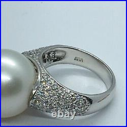 14k White Gold Ring With A Large South Sea Pearl And Pave Set Diamonds