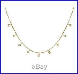14k Yellow Gold 0.30ctw Diamond Bezel Set Multi Drop Adjustable Necklace NEW TAG