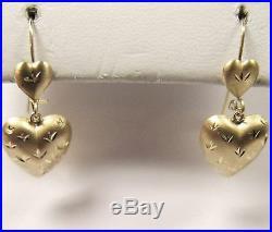 14k Yellow Gold Genuine Double Heart Drop Dangle Design Hoop Latch Earrings Set