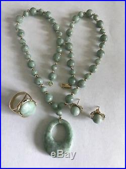 14k Yellow Gold Jade Bead Necklace Pendant Earrings Ring Jewelry Set, 46.2 Grams