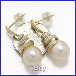 14k Yellow Gold Sets 6 Sparkling Diamonds Peach Pearl Dangle Stud Earrings TPJ