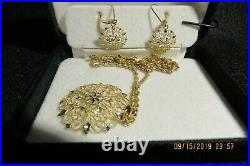 14k gold earrings and necklace set. Diamond cut gold pendant and earrings