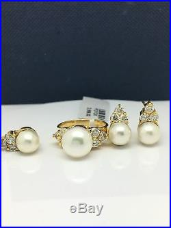 14k yellow gold natural diamonds and pearl ring earrings and pendant set