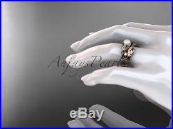 14kt rose gold pearl leaf and vine engagement set AP273S