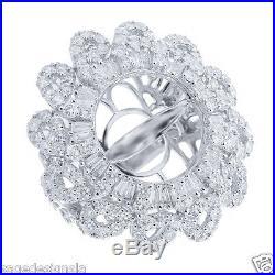 15MM Pearl Semi Mount 3.52CT 18K White Gold Diamond Ring Setting Mounting