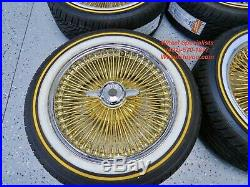 17 Inch Gold Chrome Cadillac Buick Chevy Spoke Wire Wheels Vogue Tires New Set 4