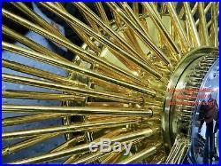 17 Inch Gold Chrome USA 100 Spoke Dayton Style Wire Wheels Vogue Tires New Set 4