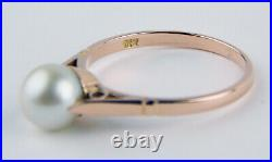 18 kt Rose Gold 7.5 mm Cultured Pearl Ring Cathedral Setting Size 8 3/4 A7900