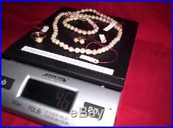 18K GOLD and NATURAL PEARLS Ring Necklace Bracelet and Earrings FINE SET 46g
