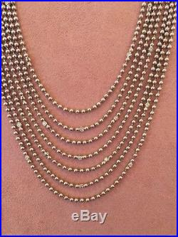 18K White Gold Bead Necklace withBezel Set Diamonds- 26 inch -7 Strand HM1547EI
