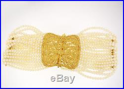 18k Yellow Gold Yellow Diamond And Pearl Strand Choker Necklace And Earring Set