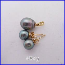 18ct gold black cultured pearl earrings & matching pendant