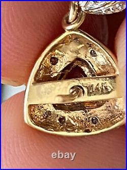18k 14k Yellow gold Citrine Amethyst Tourmaline Diamond Pendant Earring Drop Set