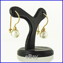 18k Elegant Contemporary Freshwater Pearl Drop Earrings with Yellow Gold Setting