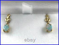 18k Natural Australian Boulder Opal Drop Earrings 750 yellow gold claw setting