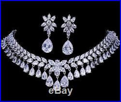 18k White Gold GF Drop Necklace Earrings Set w Created Diamond Marquise Stone