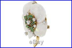 18k Yellow Gold Pearl Emeralds Diamonds Earrings Brooch Vintage Set
