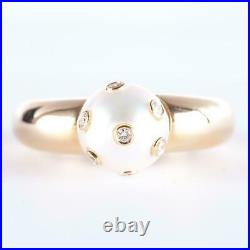 18k Yellow Gold Round Cut Akoya Pearl Solitaire Ring With Tube Set Diamonds. 11ctw