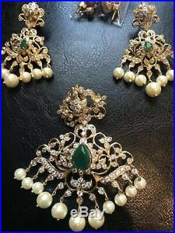 18k on 4k gold bridal Real Changeable Ruby Pendant Earrings Set Emerald India