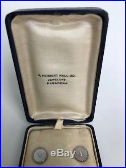 1920s SOLID 14K GOLD PEARL & M. O. P. STUD SET J. HERBERT HALL PASADENA CA BOXED