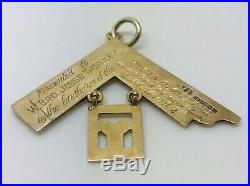 1931 Vintage Masonic 9ct gold Set Square Pendant Plated Drop Weight 6.76 grams