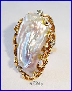 1970s 14K Yellow Gold Ring Sz 7.75 set w. Huge Baroque Pearl & 3x Diamonds (Ree)