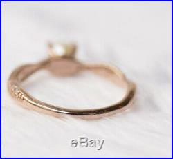 1Ct Round Cut Pearl & Diamond 14K Rose Gold Finish Wedding Bridal Ring Set