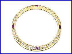 1ct Bead Set Pave Diamond Bezel 18ky For Rolex Datejust, President With 4 Rubies