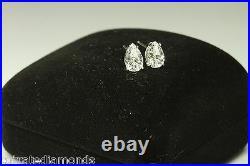 2.00 CT DIAMOND Pear/ Tear Drop Stud Earrings Basket Set 14K White Gold
