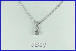$2,040 Scott Kay 18K White Gold 3 Round Diamond Bezel Set Drop Pendant Necklace