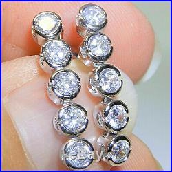 2.50 ct Round Cut Diamond Real 10k White Gold Bezel Set Journey Drop Earrings