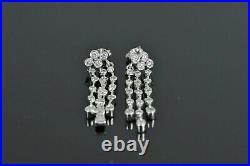 $2,750 14K White Gold Bezel Set Round Diamond 3 Row Drop Dangle Stud Earrings
