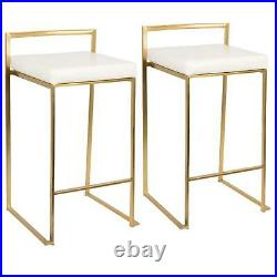 2-Pc Fuji Counter Stool Set Foot Rest Square Seat Stackable Chair Gold White New