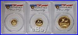 2016 P Tuvalu 3 Coin Proof Set Gold Pearl Harbor PCGS PR70DCAM Michael Reagan