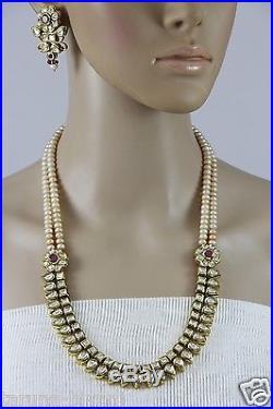 22 Freshwater Peach Pearls Leaf Shape Gold Plated CZ Polki Kundan Necklace Set