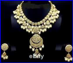 22 K Gold Kundan Meena Diamond Polki Pearl Handmade Necklace Earring Set Jewelry