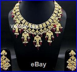 22 K Gold Kundan Meena Diamond Polki Ruby Pearl Handmade Necklace Set Jewelry