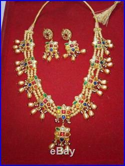 22 K Gold Kundan Meena Navratan Gemstone Fine Wedding Necklace Jewelry Set