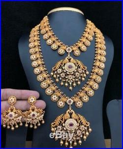 22 k Gold Tone Statement Necklace Set Indian Ethnic Jewelry Jhumka Jhumki Matt