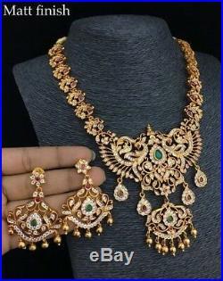 22 k Gold Tone Statement Necklace Set Indian Ethnic Jewelry Jhumka Jhumki Matt 4