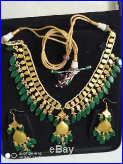 22K Gold kundan Meena Pearl Diamond Polki Emerald One set Necklaces Earring