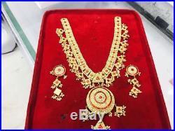 22K Gold kundan Meena Pearl Ruby Diamond Polki One set Necklaces Earring