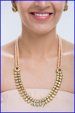 22K Yellow Gold Plated CZ Polki Kundan Peach Pearls Long Necklace Set