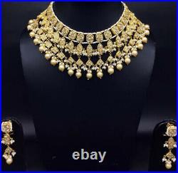 23k Gold Diamond Polki Necklace Set fishes Freshwater Pearl Jewelry
