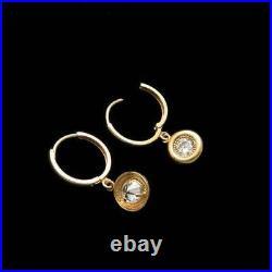 2Ct Round Bezel Set Milgrain Moissanite Dangle Drop Earrings 14K Yellow Gold Gp