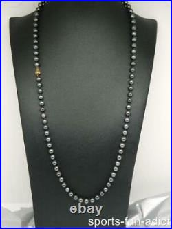 2pc Set 14K Yellow Gold 7mm Tahitian Pearl 31 Necklace 7 Bracelet Ribbed Clasp